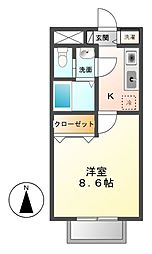 愛知県長久手市原山の賃貸アパートの間取り