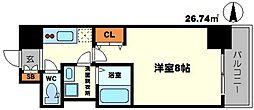 BPRレジデンス江坂 12階1Kの間取り