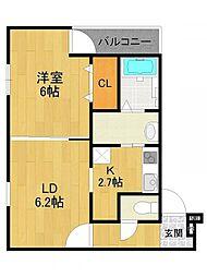 兵庫県尼崎市南武庫之荘7丁目の賃貸アパートの間取り