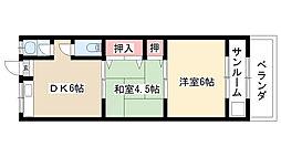 愛知県名古屋市昭和区村雲町4丁目の賃貸アパートの間取り