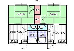 コーポ梅崎[1階]の間取り