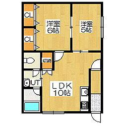 北海道室蘭市中島町2丁目の賃貸アパートの間取り