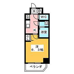 プレサンスTHE MOTOYAMA 9階1Kの間取り