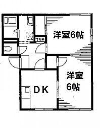 メゾンクレールB[1階]の間取り