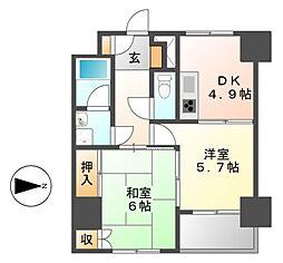 ライオンズマンション橦木[8階]の間取り