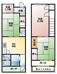 [一戸建] 兵庫県神戸市兵庫区湊川町3丁目 の賃貸【/】の間取り
