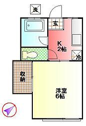 サンハイツ岩崎[207号室]の間取り