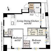 間取図/5階部分・2LDK:専有面積60.0m2 バルコニー面積11.32m2