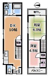 [一戸建] 京都府京都市伏見区中島御所ノ内町 の賃貸【/】の間取り