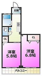 山一鹿浜マンション[2階]の間取り