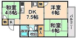 兵庫県伊丹市南野北5丁目の賃貸アパートの間取り