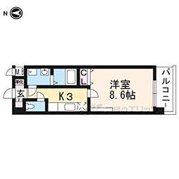 京都市営烏丸線 竹田駅 徒歩9分の賃貸マンション 5階1Kの間取り