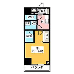 江戸川橋ステーションレジデンス 2階1Kの間取り
