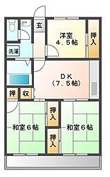 メゾンサプリーム[7階]の間取り