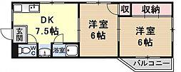 クローバー四ノ宮[107号室号室]の間取り