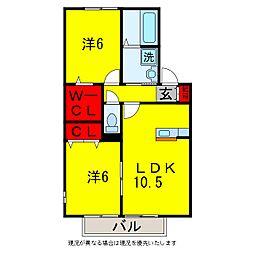 アヴァンセ八幡B[2階]の間取り