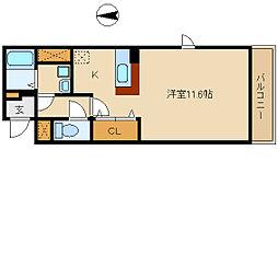 阪神本線 武庫川駅 徒歩18分の賃貸マンション 2階1Kの間取り