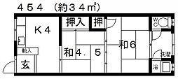 津田文化[104号室号室]の間取り