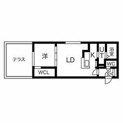 JR函館本線 桑園駅 徒歩9分の賃貸マンション 1階1LDKの間取り