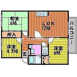 サンビレッジ芥子山 A棟[2階]の間取り