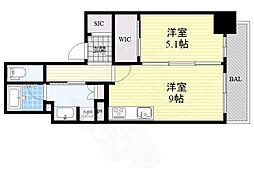Osaka Metro堺筋線 長堀橋駅 徒歩2分の賃貸マンション 3階1LDKの間取り