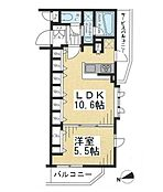 1LDKの間取り図。南西角部屋です。