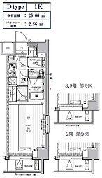 LUMEED CUBE 菊川 PREMIUM 6階1Kの間取り