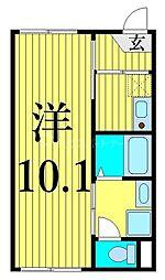 JR常磐線 南千住駅 徒歩12分の賃貸マンション 2階1Kの間取り