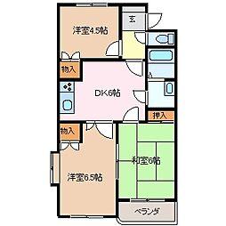 三重県四日市市楠町本郷の賃貸マンションの間取り