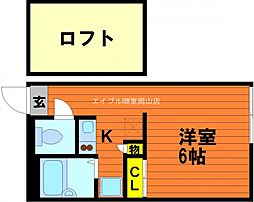 岡山県岡山市東区金岡西町丁目なしの賃貸アパートの間取り