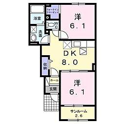 広島県東広島市西条町吉行の賃貸アパートの間取り