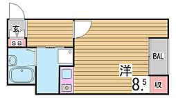 兵庫県神戸市中央区楠町6丁目の賃貸マンションの間取り