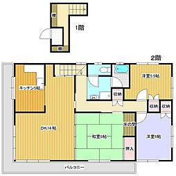 竹丘1丁目貸家[2階号室]の間取り