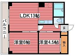 北海道札幌市豊平区月寒東二条11丁目の賃貸マンションの間取り