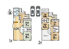 6LDKと納戸、ロフトのある贅沢な間取。建物の中央に中庭があり各居室に光が差し込みます。