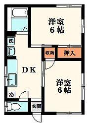 ハイコーポ和名ヶ谷B棟[1階]の間取り