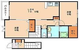 福岡県飯塚市幸袋の賃貸アパートの間取り