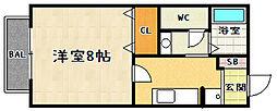 フルーレ仰木[203号室]の間取り
