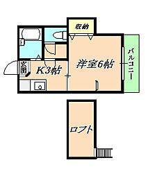 ローリエ霞ヶ丘[2階]の間取り