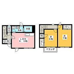 [テラスハウス] 岐阜県美濃加茂市田島町1丁目 の賃貸【/】の間取り