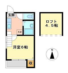シェーネスハイム八剱[1階]の間取り