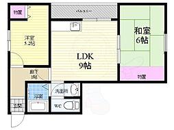 Osaka Metro中央線 九条駅 徒歩8分の賃貸マンション 3階2LDKの間取り
