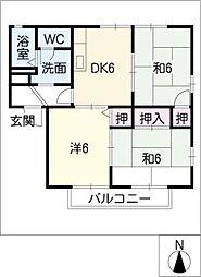 グリーンタウン奥田[1階]の間取り
