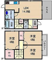 [テラスハウス] 大阪府茨木市安威1丁目 の賃貸【/】の間取り