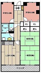 ニュー八幡スカイマンション[203号室]の間取り
