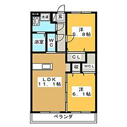 三河江曽島[3階]の間取り