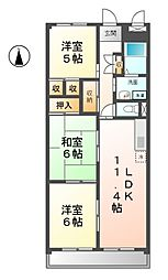 愛知県名古屋市西区長先町の賃貸マンションの間取り