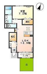 JR奥羽本線 山形駅 バス12分 松波4丁目下車 徒歩7分の賃貸アパート 1階1LDKの間取り