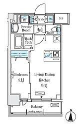 ディームス東陽町II 3階1LDKの間取り
