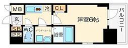 エスリード大阪シティノース 8階1Kの間取り